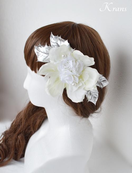 ウェディングホワイト・シルバーのヘッドドレス