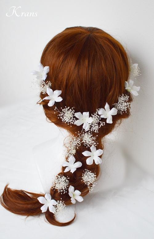 結婚式用かすみ草とジャスミンのヘッドアクセサリー