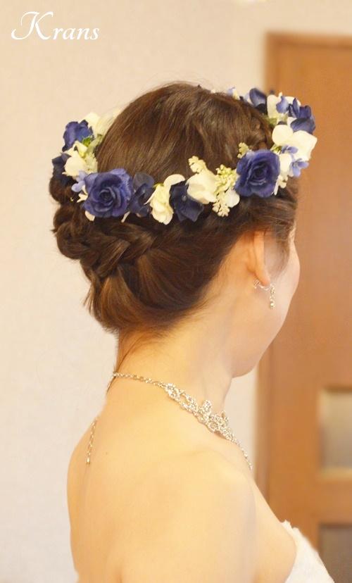 ロイヤルブルーローズの結婚式用花冠5