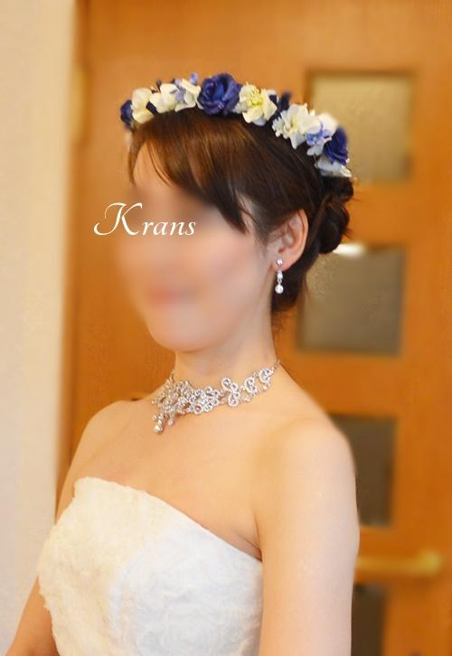 ロイヤルブルーローズの結婚式用花冠4