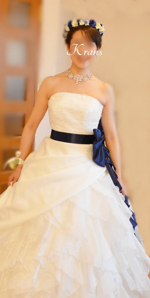 ロイヤルブルーローズの結婚式用花冠2