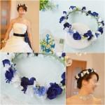 ロイヤルブルーローズの結婚式用花冠