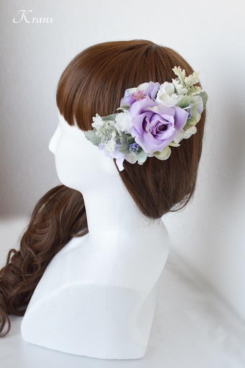 結婚式フラワーボンネパープルローズサイドヘアスタイル