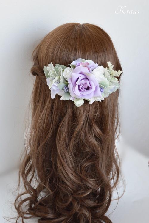 結婚式フラワーボンネパープルローズヘアスタイル