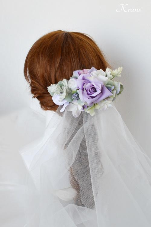 結婚式フラワーボンネパープルローズベール