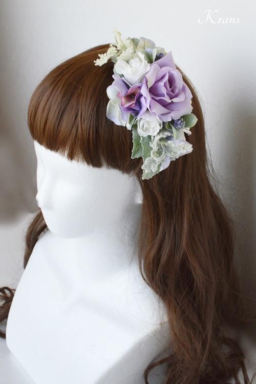 結婚式フラワーボンネパープルローズダウンヘアスタイル