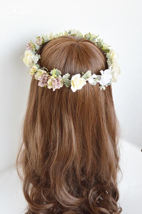 結婚式花冠ナチュラルウェディングクラシックローズバックスタイル