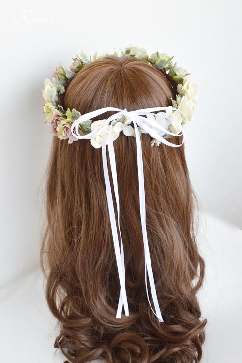 結婚式花冠ナチュラルウェディングクラシックローズリボンスタイル
