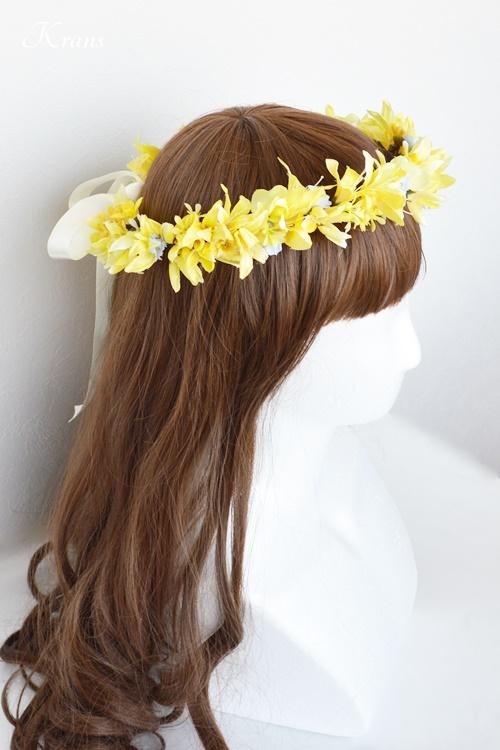 イエローブルーウェディング花冠ヘアスタイル