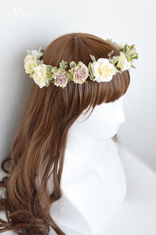 結婚式花冠ナチュラルウェディングクラシックローズヘアスタイル