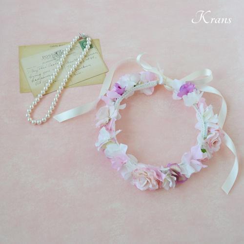 子供用結婚式のピンク花冠2