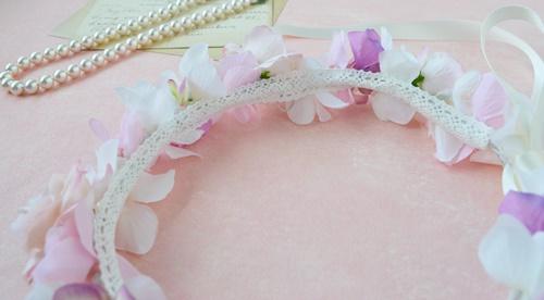 子供用結婚式のピンク花冠リボン加工