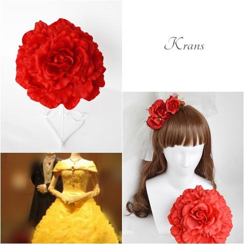 美女と野獣ベルイメージの赤いバラのブーケ