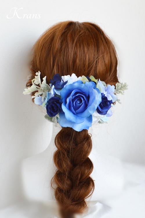ブルーローズウェディングフラワーボンネヘッドドレスヘアスタイル