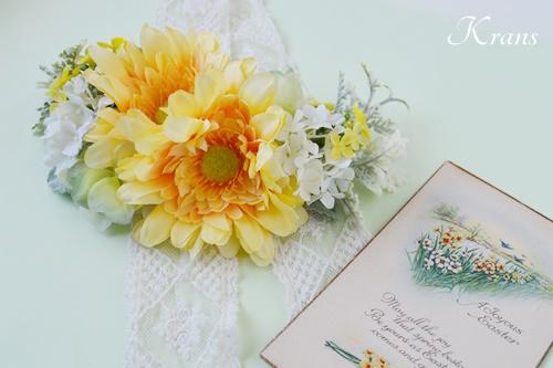 結婚式ガーベラフラワーボンネヘッドドレス