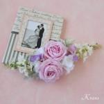 結婚式のピンクローズフラワーボンネヘッドドレス