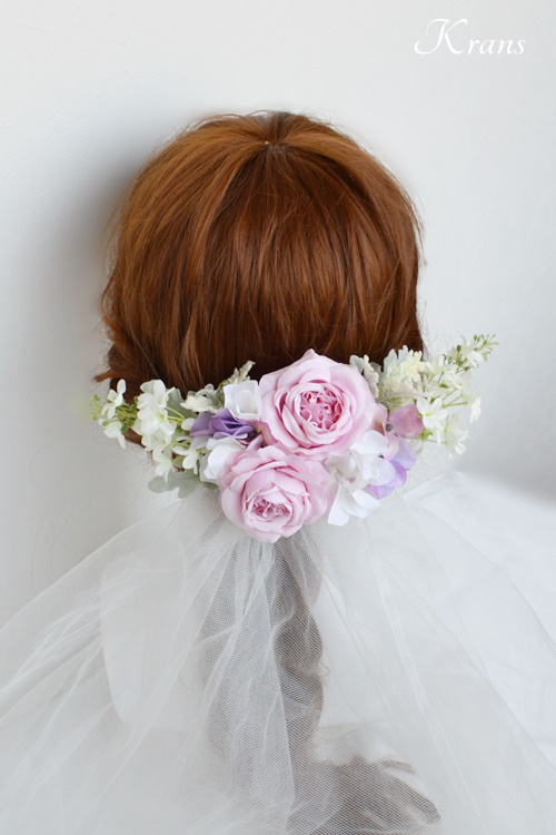 結婚式のピンクローズフラワーボンネヘッドドレスベールスタイル