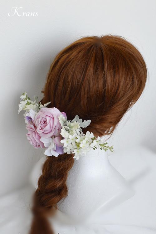 結婚式のピンクローズフラワーボンネヘッドドレスヘアスタイル