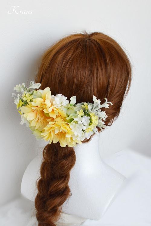結婚式ガーベラフラワーボンネヘッドドレスヘアスタイル