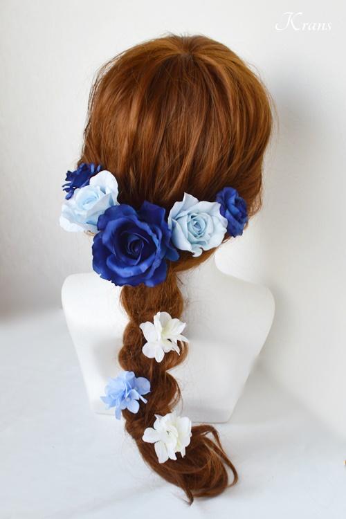 ブルーローズウェディング髪飾りヘッドドレス3