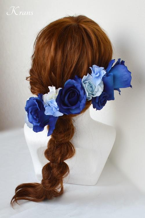 ブルーローズウェディング髪飾りヘッドドレス2