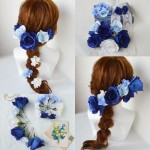 【オーダーメイド】ブルーローズのウェディングヘッドドレス(髪飾り)
