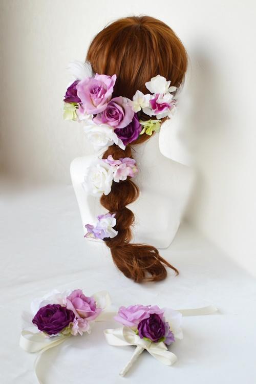 結婚式紫色髪飾りラプンツェルヘア