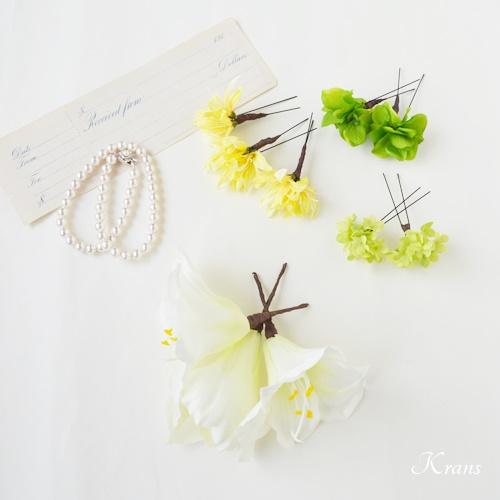 ホワイトアマリリスヘッドドレス結婚式の髪飾り
