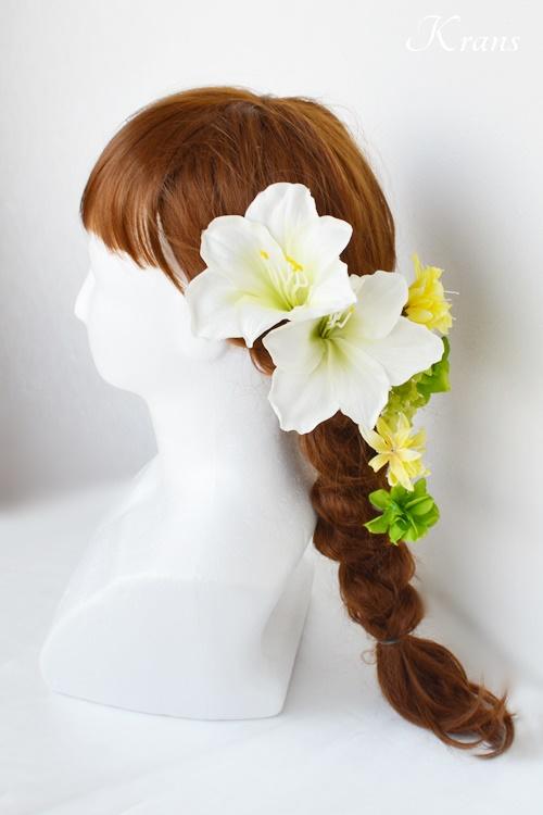 ホワイトアマリリスヘッドドレス結婚式の髪飾りヘアスタイル