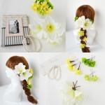 ホワイトアマリリスのウェディングヘッドドレス、結婚式用の髪飾り