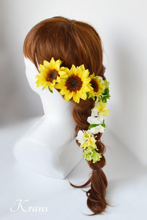 ひまわりウェディングヘッドドレスヘアスタイル