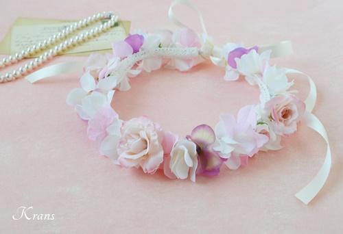 子供用結婚式のピンク花冠3
