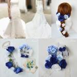 ブルーローズ髪飾りウェディングドレスコーデ
