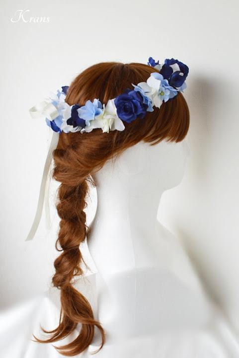 青いバラとあじさいの結婚式用花冠ヘアアレンジ4