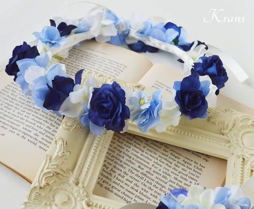 青いバラとあじさいの結婚式用花冠2