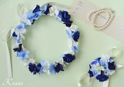 青いバラとあじさいの結婚式用花冠3