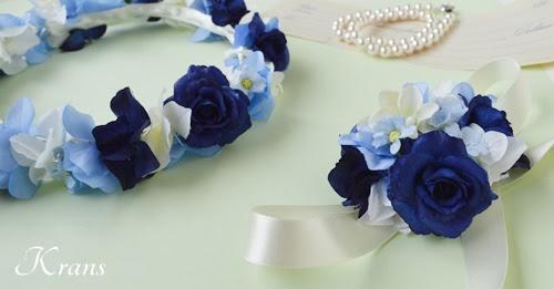 青いバラとあじさいの結婚式用花冠4