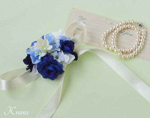 青いバラのリストレットブーケ