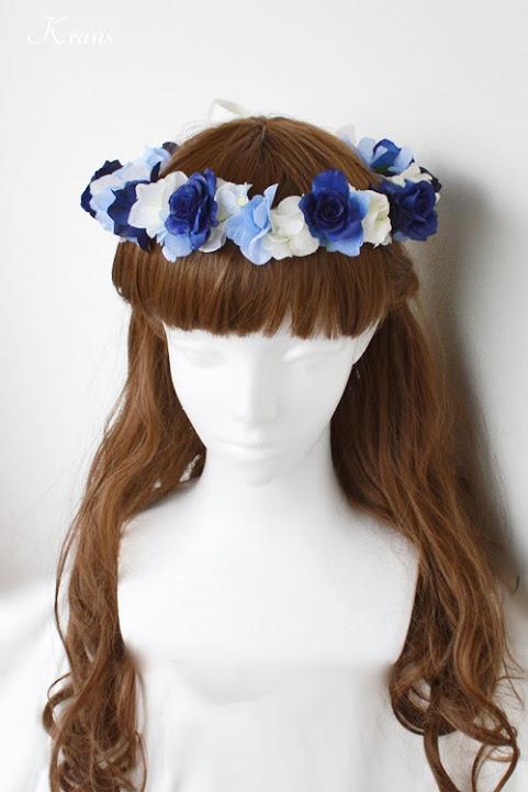 青いバラとあじさいの結婚式用花冠ヘアアレンジ