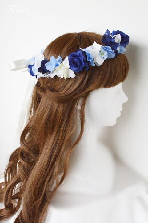 青いバラとあじさいの結婚式用花冠ヘアアレンジ2