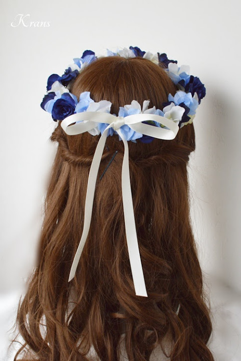 青いバラとあじさいの結婚式用花冠ヘアアレンジ3