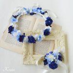 青いバラとあじさいの結婚式用花冠
