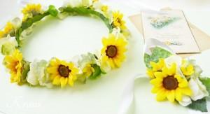 ひまわりの結婚式用花冠3