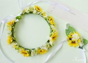 ひまわりの結婚式用花冠2