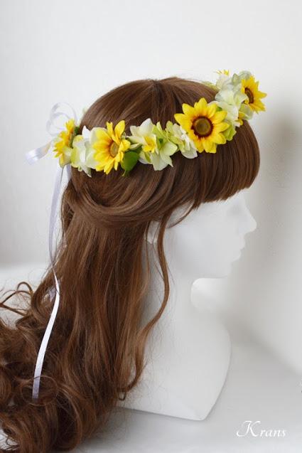 ひまわりの結婚式用花冠ヘアスタイル2