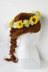 ひまわりの結婚式用花冠ヘアスタイル3