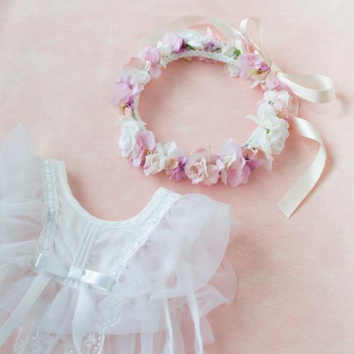 【オーダーメイド】1歳のお誕生日にピンクローズの花冠