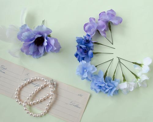 ブルーパープル結婚式髪飾りアネモネヘッドドレス5