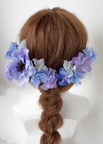 ブルーパープル結婚式髪飾りアネモネヘッドドレス2