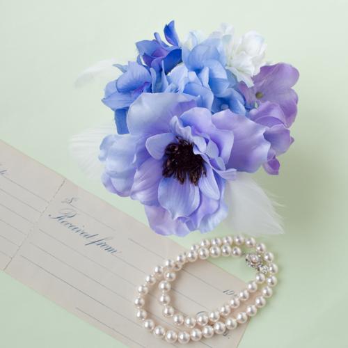ブルーパープル結婚式髪飾りアネモネヘッドドレス